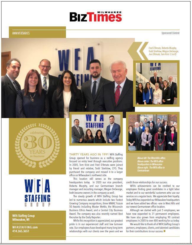 Biz Times 2021 WFA 30 Anniversary Article
